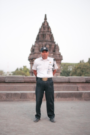 """I feel good when I can do my job correctly, and catch vandalists at the temple. One time when I was working at 1:30am, I heard footsteps around the temple. I called other security. We went to the temple slowly and saw 9 strange people walking around...so I caught them and brought them to the security post. After questioning them, I decided not to report them to the police."" ""Why was that?"" ""This is not a big problem so I forgave them...as long as they promised not to do it again."" (Yogyakarta, Java)"