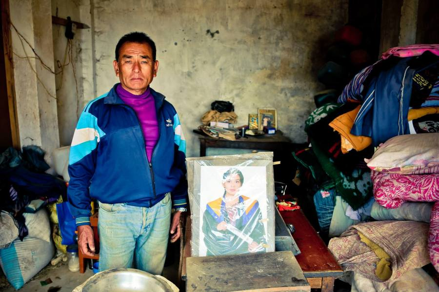 Ghoma Lama ji came to me and took me to his shop to show his daughter, Srijana's, photo. She passed away during the earthquake. He wanted the world to know what an amazing person she was - she taught at the local school. 1 May 2015.