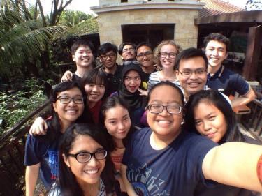 Sophie Hewitt with her fellow-choir members at rehearsals for the Parahyangan Classical Music Festival, Kota Baru Parahyangan, 2015.