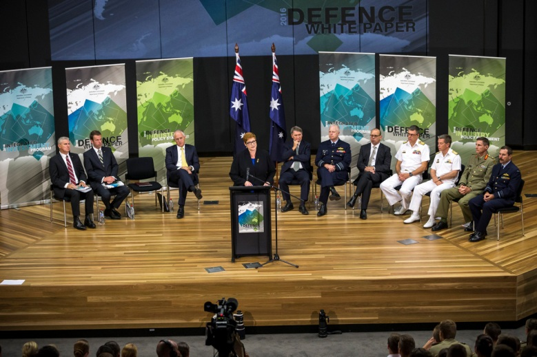 Minister for Defence the Hon Marise Payne, MP, speaking at the launch of the 2016 Defence White Paper at the Australian Defence Force Academy (ADFA) in Canberra. Image courtesy of Department of Defence.