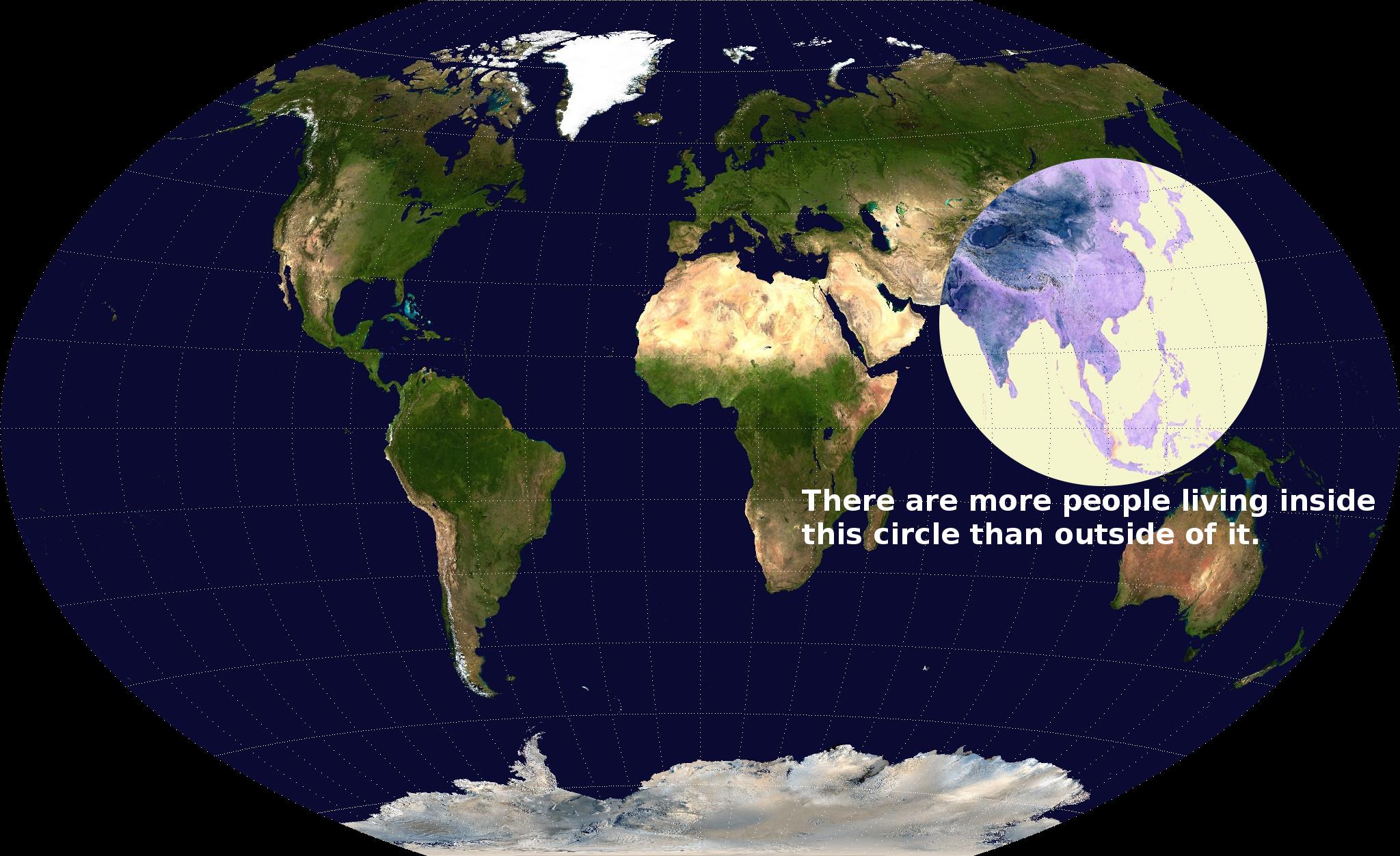 Asia population circle bigger