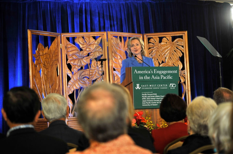 U. S. Secretary of State Hillary Rodham Clinton addresses military and political leaders of Hawaii