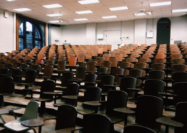 Empty seats in a lecture theatre