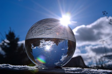 Glass ball reflected in the sunlight